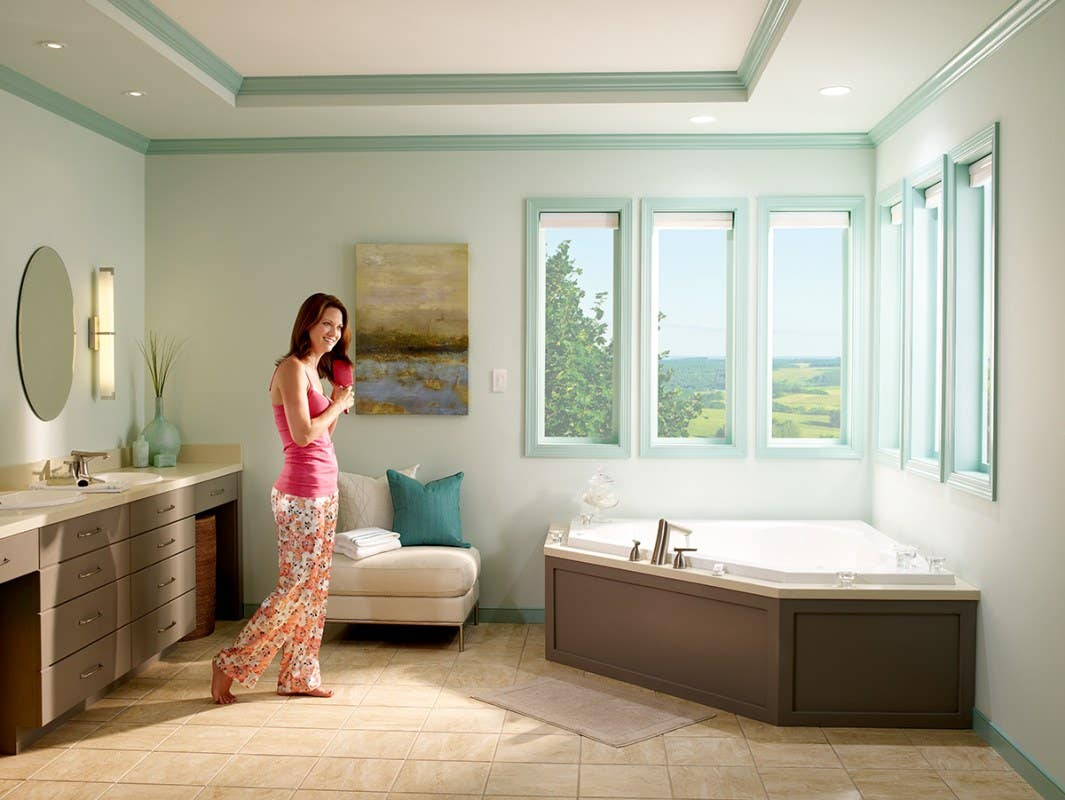 Bathroom With Honeycomb Shades In Rio Mist